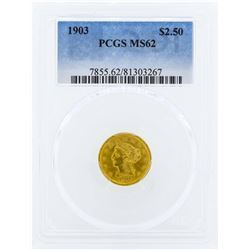 1903 $2 1/2 Liberty Head Quarter Eagle Gold Coin PCGS MS62