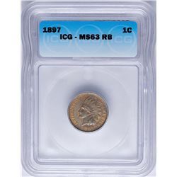 1897 Indian Head Cent Coin ICG MS63RB