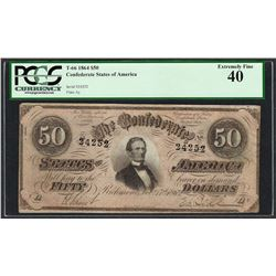 1864 $50 Confederate States of America Note T-66 PCGS Extremely Fine 40