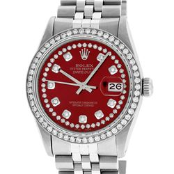 Rolex Men's Stainless Steel Red String Diamond 36MM Datejust Wristwatch