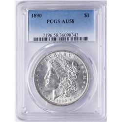 1890 $1 Morgan Silver Dollar Coin PCGS AU58