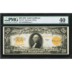 1922 $20 Gold Certificate Note Fr.1187 PMG Extremely Fine 40