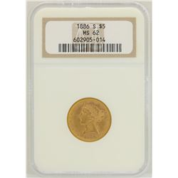 1886-S $5 Liberty Head Half Eagle Gold Coin NGC MS62