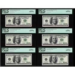 Lot of (6) Consecutive 2001 $100 Federal Reserve STAR Notes PCGS Gem New 66PPQ