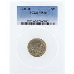 1925-D Buffalo Nickel Coin PCGS MS65