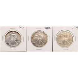 Lot of 2001, 2003, & 2009 $1 American Silver Eagle Coins