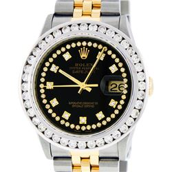 Rolex Mens Two Tone Black String VS 3CTW Channel Set Diamond Datejust Watch