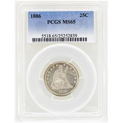 1886 Seated Liberty Quarter Coin PCGS MS65