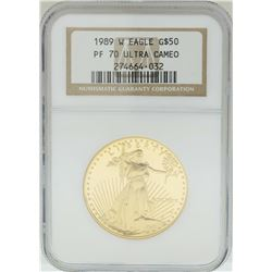 1989-W $50 American Gold Eagle Coin NGC PF70 Ultra Cameo