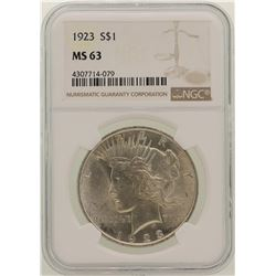 1923 $1 Peace Silver Dollar Coin NGC MS63
