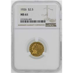 1926 $2 1/2 Indian Head Quarter Eagle Gold Coin NGC MS61