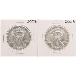 Lot of (2) 2003 $1 American Silver Eagle Coins