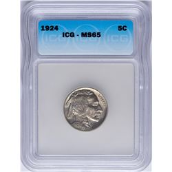 1924 Buffalo Nickel Coin ICG MS65
