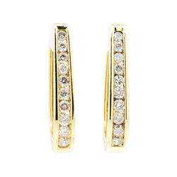 14KT Yellow Gold 1.00 ctw Diamond Hoop Earrings