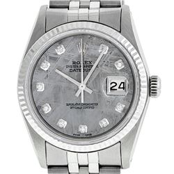 Rolex Men's Stainless Steel Meteorite Diamond 36MM Datejust Wristwatch