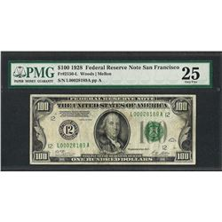 1928 $100 Federal Reserve Note San Francisco Fr.2150-L PMG Very Fine 25
