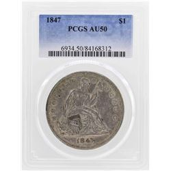 1847 $1 Seated Liberty Silver Dollar Coin PCGS AU50