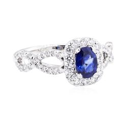 14KT White Gold 1.38 ctw Sapphire and Diamond Ring