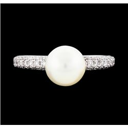 14KT White Gold 7.6mm Pearl and Diamond Ring