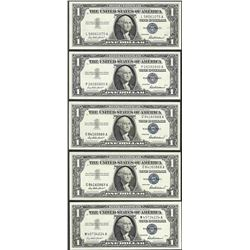 Lot of (5) 1957 $1 Silver Certificate Notes Uncirculated