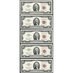 Lot of (5) 1963 $2 Legal Tender STAR Notes