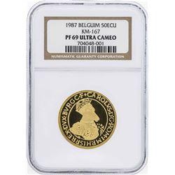 1987 Belgium 50 Ecu 1/2 Oz. Gold Coin NGC PF69 Ultra Cameo