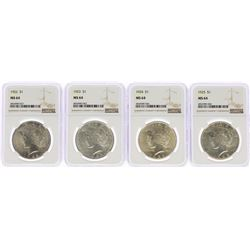 Lot of 1922-1925 $ Peace Silver Dollar Coins NGC MS64
