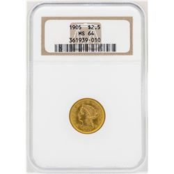 1905 $2 1/2 Liberty Head Quarter Eagle Gold Coin NGC MS64