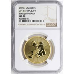 2018 $250 Niue Scrooge McDuck Gold Coin NGC MS69