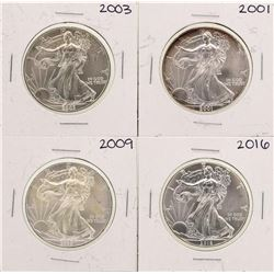 Lot of 2001, 2003, 2009, & 2016 $1 American Silver Eagle Coins