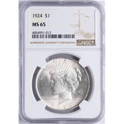 1924 $1 Peace Silver Dollar Coin NGC MS65