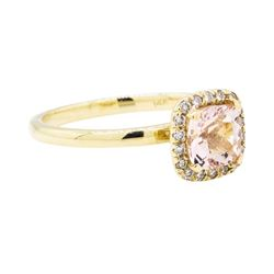 14KT Yellow Gold 0.85 ctw Morganite and Diamond Ring