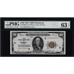 1929 $100 Federal Reserve Bank Note Richmond Fr.1890-E PMG Choice Uncirculated 6