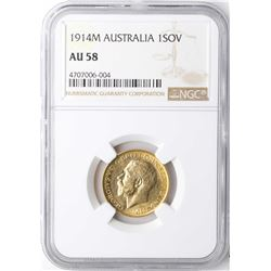 1914M Australia Sovereign Gold Coin NGC AU58