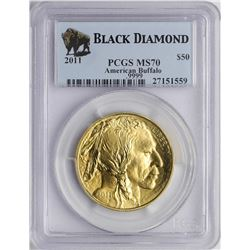 2011 $50 American Buffalo Gold Coin PCGS MS70 Black Diamond