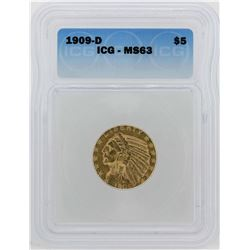1909-D $5 Indian Head Half Eagle Gold Coin ICG MS63