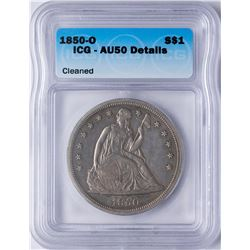 1850-O $1 Seated Liberty Dollar Coin ICG AU50 Details
