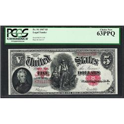 1907 $5 Woodchopper Legal Tender Note Fr.91 PCGS Choice New 63PPQ