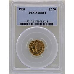 1908 $2 1/2 Liberty Head Quarter Eagle Gold Coin PCGS MS61