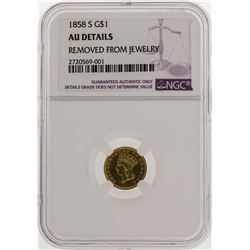 1858-S $1 Indian Princess Head Gold Dollar Coin NGC AU Details