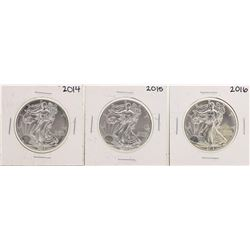 Lot of 2014-2016 $1 American Silver Eagle Coins