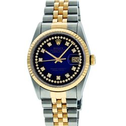Rolex Men's Two Tone 14K Blue Vignette VS Diamond 36MM Datejust Wristwatch
