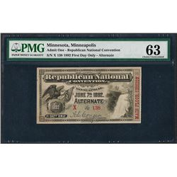1892 Republican National Convention Ticket Minnesota, MN PMG Choice Uncirculated