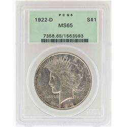 1922-D $1 Peace Silver Dollar Coin PCGS MS65