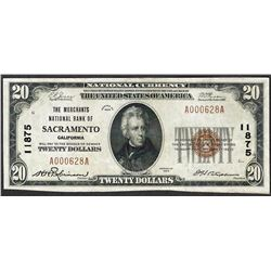 1929 $20 The Merchants National Bank of Sacramento Currency Note CH# 11875