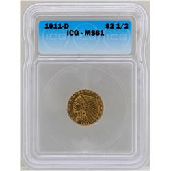 1911-D $2 1/2 Indian Head Quarter Eagle Gold Coin ICG MS61