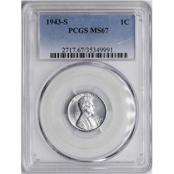 1943-S Steel Wheat Cent Coin PCGS MS67