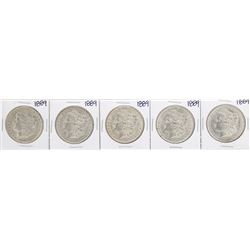 Lot of (5) 1889 $1 Morgan Silver Dollar Coins