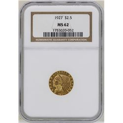 1927 $2 1/2 Indian Head Quarter Eagle Gold Coin NGC MS62
