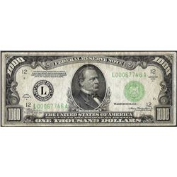 1934A $1,000 Federal Reserve Note San Francisco